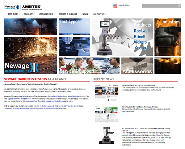 Newage Hardness Testing Web Page